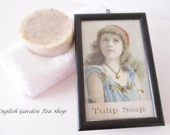 VINTAGE FRAMED SOAP picture, Tulip Soap framed postcard, Victorian girl for Tulip Soap, framed photo, excellent vintage condition