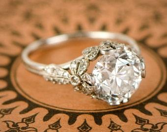 3.56ct Old European Diamond Engagement Ring - Edwardian Style - Platinum Engagement Ring