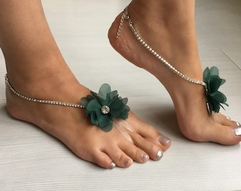 EXPRESS SHIPPING Rhinestone Anklet, Crystal Barefoot sandals, Beach wedding barefoot sandals, Floral Bridal foot jewelry, Bridesmaid gift,