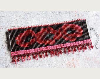 Seed Bead Bracelet, Handmade bracelet, Cuff bracelet, Bead Loom Bracelet, Adjustable Bracelet, Colorful bracelet