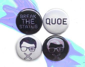 "QUOE 1"" Pinback Button Four Pack"