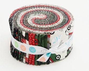"Riley Blake - Christmas Delivery 2.5 Inch Rolie Polie/Jelly Roll by Carta Bella - 40, 2.5"" x 42"" Fabric Precut Strips"