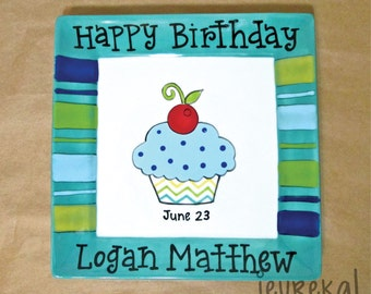 "Stripe Rim Cupcake Ceramic Birthday Plate - Personalized 8"" Boys Square Plate"