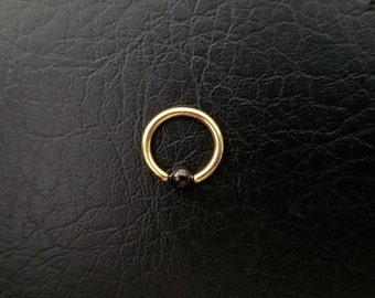 """6mm Gold and Black Captive Bead Ring 20g 18g 16g 1/4"""" Nostril Septum Hoop Helix Tragus Cartilage Earlobe Ring Titanium IP over 316l Steel"""