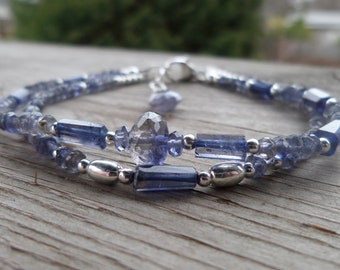 Double Strand Beautiful Shaded Iolite Gemstone and Birthstone Sterling Silver Bracelet