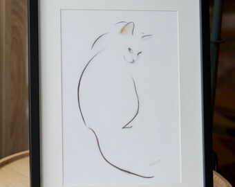 3 minimalist cat prints, signed