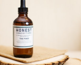 Beard Oil, THE PINES, Natural Beard Care and Moustache Softening Oil in Amber Glass Bottle w/ Dropper Cap