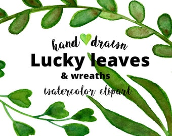22 Green watercolor clipart | leaves & wreaths | Lucky wedding invitation | png | handpainted watercolour| printable | digital download