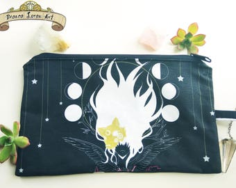 Twilight Soul Fragment Zippered Pouch - Clutch bag Purse Wristlet - Moon steampunk girl anime wolf - Cosmetic pencil - Bianca Loran Art