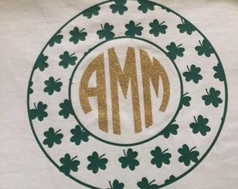 St. Patrick's Day Shamrock Circle with Monogram
