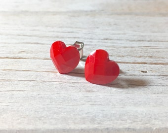 Bright Red Heart Studs, Heart Stud Earrings, Resin Jewelry, Valentine's Day Studs, Faceted Red Heart Studs, Surgical Steel Studs (SE1)