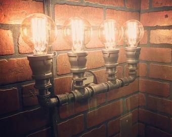 Industrial Steampunk Heavy Duty 4 bulb pipe wall Light. Hidden Sockets. Wall Art rustic