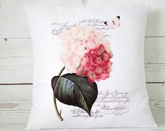 "Pink Hydrangea - 16"" Cushion Pillow Cover Shabby Vintage Chic - UK Handmade"
