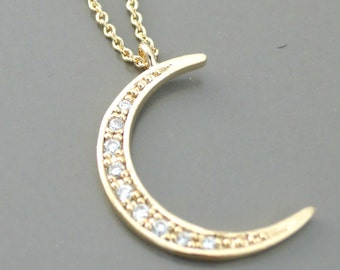 Gold Necklace - Moon Necklace - Pave Necklace - Layered Necklace - Crescent Moon Necklace - handmade jewelry