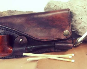 Leather Pipe Tobacco Pouch Case