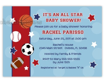 All Star Sports Baby Shower Or Birthday Party Invitation (Digital File)