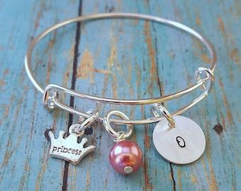 Princess Bracelet - Children's Bangle Bracelet - Little Girl Jewelry - Gift for Girls - Princess - Little Girl Gift -Birthday Gift