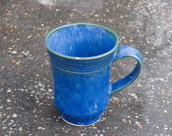 16 oz Mug, Ocean Blue with hints of Green Mug, Blue Green, Natural Patina High Fire Stoneware, Hand Painted, Ready To Ship