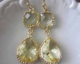 Citrine Earrings Gold Earrings Yellow Topaz Two Tier Teardrop Glass - Citrine Bridesmaid Earrings Wedding Earrings - Citrine Wedding Jewelry