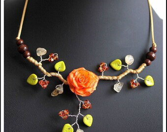 Orange and Green Flower necklace