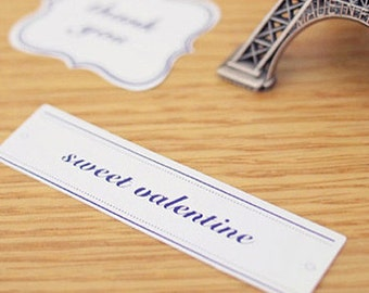 5 Simple Label Stickers - Square Frame (2.9 x 0.7in)