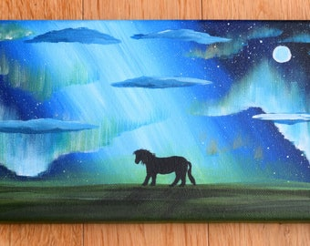 A Shetland Pony, Aurora borealis, hand painted canvas, acrylic painting of The Northern Lights by Shetland artist for horse lovers!