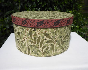 Green leaf wallpaper hat box, wallpaper box, 19th century repro