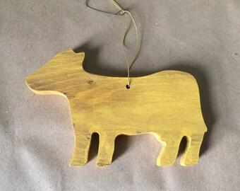 Painted Yellow Cow Christmas Ornament Folk Art Ornament