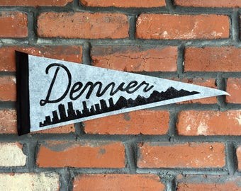 DENVER felt pennant flag - block printed and hand sewn