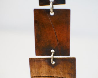 Copper earrings, etched copper earrings