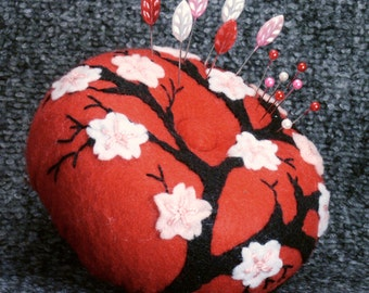 Made to order - Large Japanese cherry blossoms pincushion  free usa ship