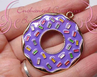 """2"""" Purple with Multicolor Sprinkles Sweet Treat Donut, Chunky Pendant, Bookmark, KeyChain, Bookmark, Zipper Pull, Planner Charm, Purse Charm"""