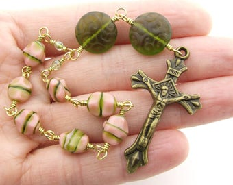 Anglican Prayer Beads - Pale Pink & Moss Green Czech Glass Anglican Mini Rosary - Antique Bronze Protestant Prayer Beads - Christian Gift