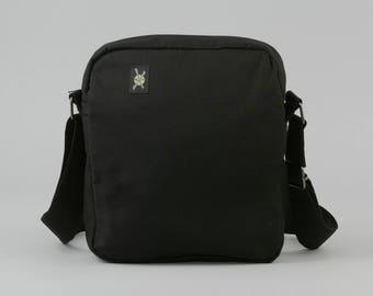 All Black Small Crossbody Bag with Zipper Closure, Fabric Crossbody with Pockets, Womens Mens