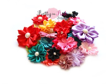 Satin Pinwheel Flowers GRAB BAG- You Choose Quantity- DIY Headband Supplies- Flower- Wholesale- By the Piece- Supply Shop