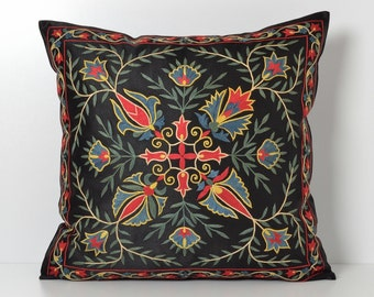 Suzani Pillow Cover - Black Hand Embroiderey Silk Vintage Organic Pillow - Decorative Pillows For Couch - Throw Pillow - Accent Pillow