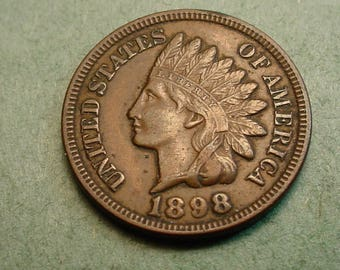 1898 Indian Head Cent  Extra  Fine<> The Coin you see is the coin you get /Insurance Included in SH <>ET6425