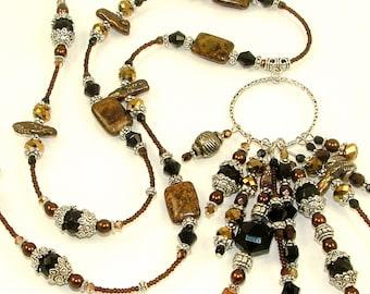 GRANDES DÉMARQUES - dramatique noir et marron 10 glands Hoop APPRET sur collier en Bronzite entièrement perlé