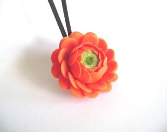 Orange Clay Ranunculus Necklace