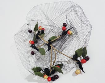 Vtg 40s BERRY & FISHNET Fascinator! Very Burlesque!
