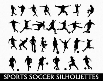 Soccer Clip Art Graphic Football Sports Clipart Digital Scrapbook Silhouettes Digital Download Transparent PNG Vector Commercial Use