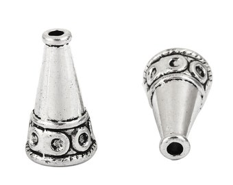 15 Silver Tassel Caps Bead Caps Textured CONE Metal Bead Caps fits 9mm fin0781