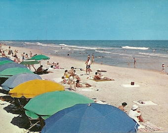 Vintage 1950s Postcard Beach Time Southern USA Florida Keys Holiday Swimming Colorful Umbrellas Scenic View Photochrome Card Postmarked
