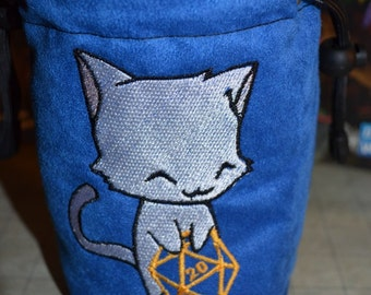 Dice Bag custom Embroidery blue Suede White Cat rolling D20