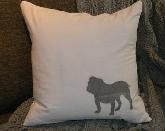 Cotton Pillow Cover- Bulldog Dog