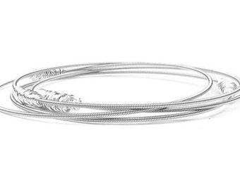 Bangle Bracelet Stack // Set of 6 Bracelets // Personalized Jewelry- Gold or Silver // Guitar String Bracelets // Recycled Stacking Bangles