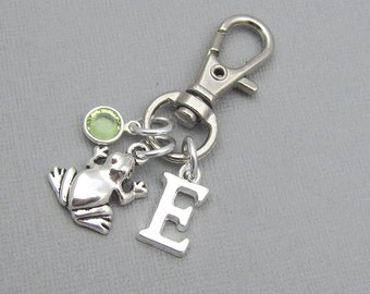 Personalized frog purse charm, zipper charm, silver initial, crystal birthstone, gift for her, frog bag charm, frog lover gift, gift for her