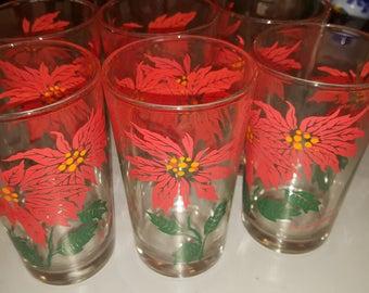 Set of 6 Vintage Poinsettia Swanky Swigs