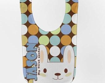 Easter Bib - Personalized Baby Boy Bunny, Custom Infant Bibs