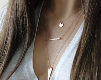 Rose Gold Hammered Bar Necklace Rose Gold Filled Necklace Rose Horizontal Bar Necklace Simple Delicate Necklace Layering Necklace